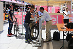 UCI commissaires checking bike dimensions before Stage 1 of the 2019 Giro d'Italia, an individual time trial running 8km from Bologna to the Sanctuary of San Luca, Bologna, Italy. 11th May 2019.<br /> Picture: Eoin Clarke | Cyclefile<br /> <br /> All photos usage must carry mandatory copyright credit (© Cyclefile | Eoin Clarke)