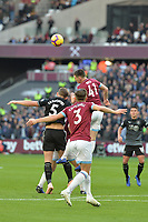 Declan Rice Of West Ham United heads clear during West Ham United vs Burnley, Premier League Football at The London Stadium on 3rd November 2018