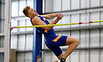 BROOKINGS, SD - FEBRUARY 24:  Evan Heiber from South Dakota State University looks to clear the bar during the men's high jump portion of the Heptaltathon Friday afternoon at the Summit League Indoor Championships in Brookings, SD. (Photo by Dave Eggen/Inertia)