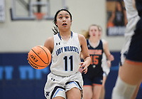Har-Ber guard Galatia Andrew (11) drives the ball, Friday, February 7, 2020 during a basketball game at Wildcat Arena at Har-Ber High School in Springdale. Check out nwaonline.com/prepbball/ for today's photo gallery.<br /> (NWA Democrat-Gazette/Charlie Kaijo)