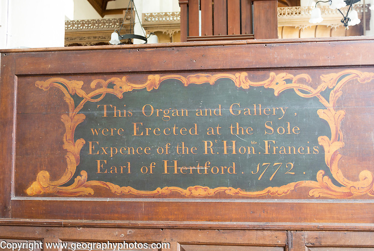 Old sign dated 1772 about donation made to erect organ and gallery, Orford church, Suffolk, England, UK