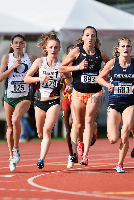Heather Demorest of Montana State is followed by Natalja Piliusinaof Oklahoma State, Elise Cranny of Stanford and Ashley Maton Oregon competes in 1500 meter prelims during West Preliminary Track and Field Championships, Friday, May 29, 2015 in Austin, Tex. (Mo Khursheed/TFV Media via AP Images)