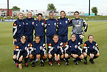 18 June 2004: The starting lineup for the New York Power with guest players from the San Jose CyberRays and Philadelphia Charge. Front row (l to r): Marinette Pichon, Shannon Boxx, Christie Rampone, Kelly Smith, Emily Janss. Back row (l to r): Margaret Tietjen, Christie Welsh, Sissi, Thori Bryan, Jaclyn Raveia, Saskia Webber. The Atlanta Beat tied the New York Power 2-2 at the National Sports Center in Blaine, MN in Womens United Soccer Association soccer game featuring guest players from other teams.