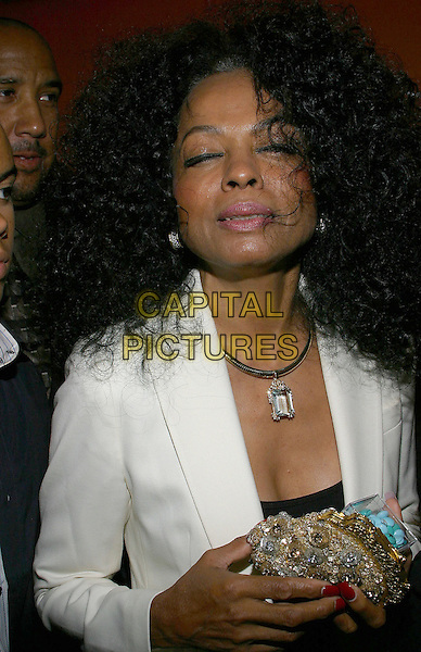 DIANA ROSS.The Entertainment Tonight Emmy Party Sponsored by People Magazine held at The Mondrian. .headshot, portrait, purse, bag, pills, mints, eyes closed.www.capitalpictures.com.sales@capitalpictures.com.© Capital Pictures.