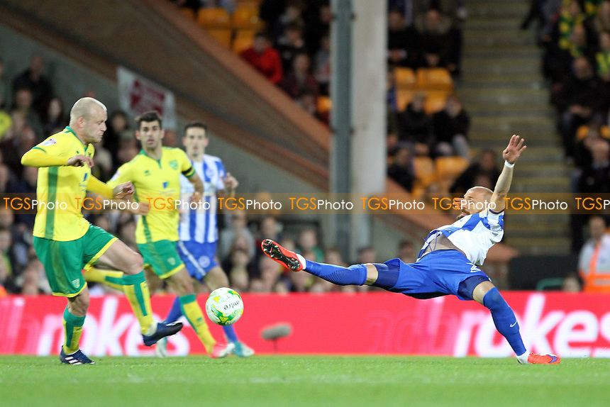 Bruno Saltor of Brighton and Hove Albion goes for the ball during Norwich City vs Brighton & Hove Albion, Sky Bet EFL Championship Football at Carrow Road on 21st April 2017