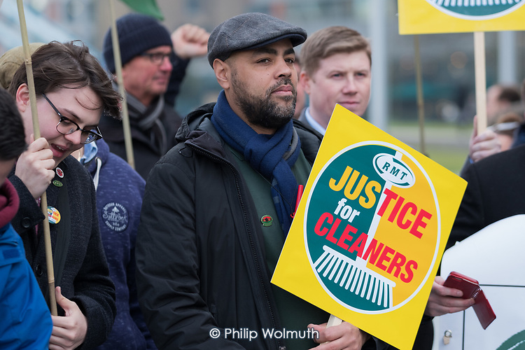 Justice For Cleaners RMT protest over pay and conditions of outsourced London Underground cleaners.  City Hall, London.