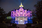 "May 19, 2018; 2018 ""Under the Dome: Celebrating 175 Years of Notre Dame,"" a 3D mapping projection video that uses the architecture of the Main Building and Basilica of the Sacred Heart as a canvas to bring to life great moments in the University's history. (Photo by Barbara Johnston/University of Notre Dame)"