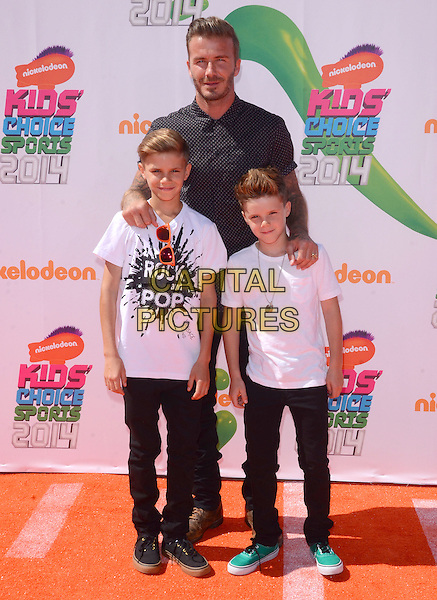 17 July 2014 - Los Angeles, California - David Beckham, Romeo Beckham &amp; Cruz Beckham. Arrivals for the Nickelodeon Kids' Choice Sports Awards 2014 held at UCLA's Pauley Pavilion in Los Angeles, Ca.  <br /> CAP/ADM/BT<br /> &copy;Birdie Thompson/AdMedia/Capital Pictures