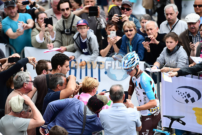 Romain Bardet (FRA) AG2R La Mondiale with fans at sign on before the start of Stage 2 of the Criterium du Dauphine 2017, running 171km from Saint-Chamond to Arlanc, France. 5th June 2017. <br /> Picture: ASO/A.Broadway | Cyclefile<br /> <br /> <br /> All photos usage must carry mandatory copyright credit (&copy; Cyclefile | ASO/A.Broadway)