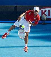 KEI NISHIKORI (JPN) against MATHEW EBDEN (AUS) in the second round of the Men's Singles. Kei Nishikori beat Mathew Ebden 3-6 1-6 6-4 6-1 6-1 ..19/01/2012, 19th January 2012, 19.01.2012..The Australian Open, Melbourne Park, Melbourne,Victoria, Australia.@AMN IMAGES, Frey, Advantage Media Network, 30, Cleveland Street, London, W1T 4JD .Tel - +44 208 947 0100..email - mfrey@advantagemedianet.com..www.amnimages.photoshelter.com.
