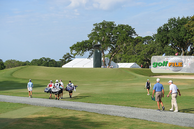 Azahara Munoz (ESP), Jessica Korda (USA), and Jaye Marie Green (USA) head down 11 during round 2 of the 2019 US Women's Open, Charleston Country Club, Charleston, South Carolina,  USA. 5/31/2019.<br /> Picture: Golffile | Ken Murray<br /> <br /> All photo usage must carry mandatory copyright credit (© Golffile | Ken Murray)