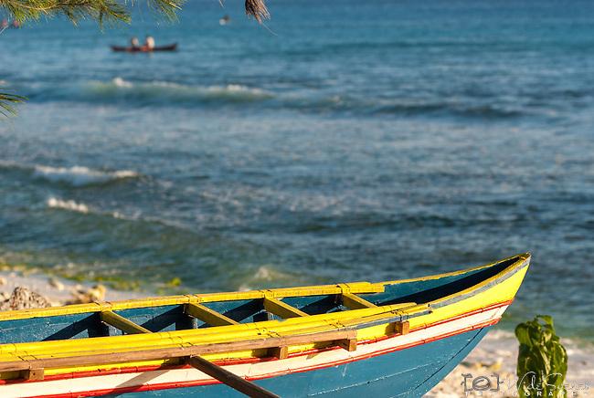 The bow of a traditional canoe on the remote island of Kiritimati in Kiribati