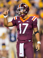 Landover, MD - SEPT 3, 2017: Virginia Tech Hokies quarterback Josh Jackson (17) gives his coach the thumbs up following a big hit late in the 4th quarter during game between West Virginia and Virginia Tech at FedEx Field in Landover, MD. (Photo by Phil Peters/Media Images International)