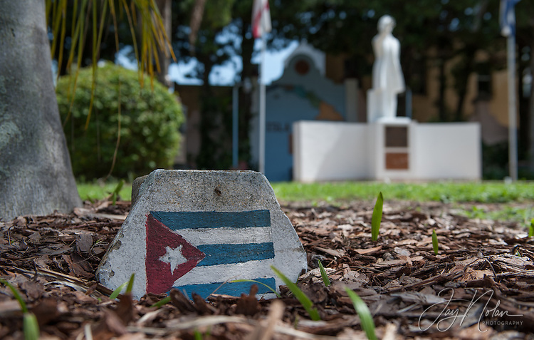 The small park with a statue of Jose Marti was made using soil from Cuba has pieces of cement with the Cuban flag painted on them under the trees. Photo/Jay Nolan