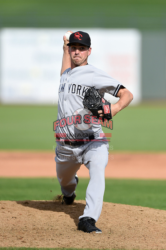 Scottsdale Scorpions pitcher Kyle Haynes (35) during an Arizona Fall League game against the Peoria Javelinas on October 18, 2014 at Surprise Stadium in Surprise, Arizona.  Peoria defeated Scottsdale 4-3.  (Mike Janes/Four Seam Images)