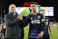 San Jose, CA - Saturday, March 04, 2017: Dominic Kinnear, Chris Wondolowski after a Major League Soccer (MLS) match between the San Jose Earthquakes and the Montreal Impact at Avaya Stadium.