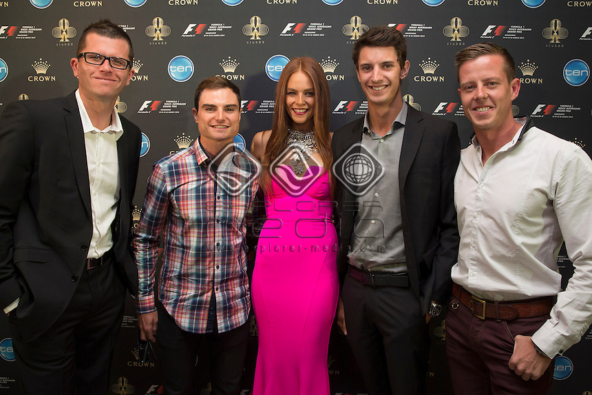 V8 Supercar drivers Garth Tander, Tim Slade, Nick Percat and James Courtney with Formula One Rolex Australian Grand Prix Ambassador Georgia Geminder at the official welcome for the Melbourne Grand Prix, Melbourne Grand Prix  2014 Australian V8 Supercars  at the Albert Park, Melbourne, Victoria, March 12, 2014.<br /> &copy; Sport the library / Mark Horsburgh