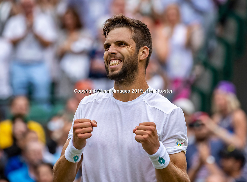 London, England, 1  st July, 2019, Tennis,  Wimbledon, Jiri Vessely (CZE) celebrates his win over Alexander Zverev (GER) <br /> Photo: Henk Koster/tennisimages.com