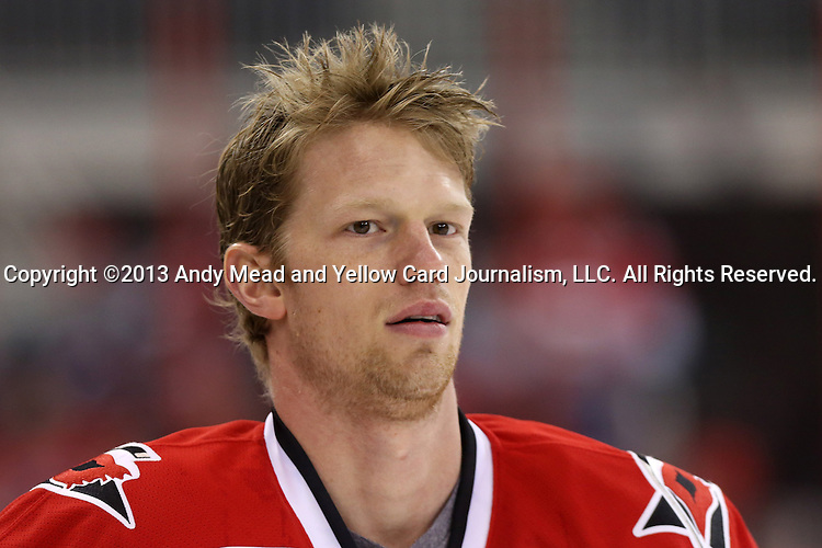 25 April 2013: Carolina's Eric Staal. The Carolina Hurricanes played the New York Rangers at the PNC Arena in Raleigh, North Carolina in a 2012-2013 National Hockey League regular season game. The New York Rangers won the game 4-3 in overtime.