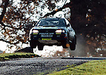 Pix: Shaun Flannery/shaunflanneryphotography.com..COPYRIGHT PICTURE>>SHAUN FLANNERY>01302-570814>>07778315553>>..23rd November 1995..............Colin McRae and co driver Derek Ringer driving a Subaru Impreza flat out over a 'yump' at Chatsworth House on their way to victory in the 1995 Network Q RAC Rally.