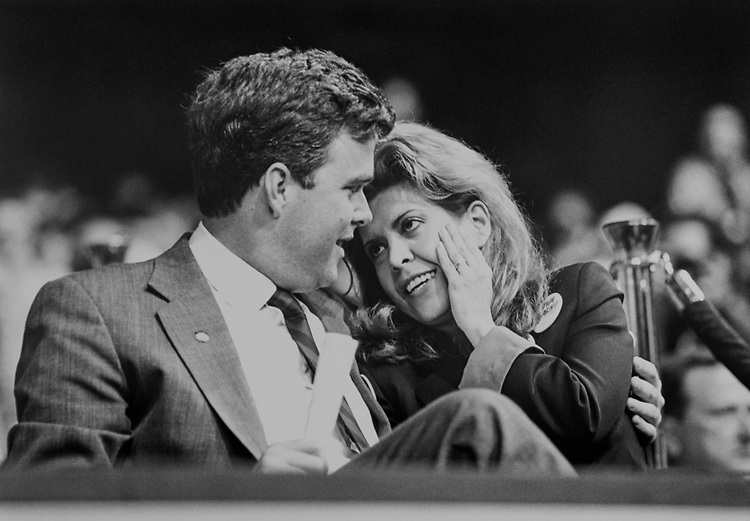 Former Secretary of Commerce of Florida Jeb Bush, R-Fla., and his wife Columba Bush at the Republican GOP Convention held in Houston, Texas, in 1992. (Photo by Laura Patterson/CQ Roll Call via Getty Images)