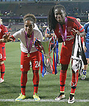 Olympique Lyonnais' Mylaine Tarrieu (l) and Griedge M'Bock Bathy celebrate the victory in the UEFA Women's Champions League 2015/2016 Final match.May 26,2016. (ALTERPHOTOS/Acero)