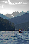 People in canoes, Ross Lake National Recreation Area, North Cascades National Park, wilderness, Cascade Mountains, Washington State, Pacific Northwest, USA
