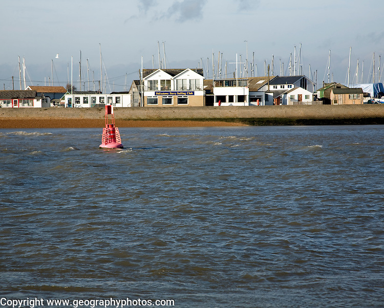 Felixstowe Ferry sailing club at the mouth of the River Deben from Bawdsey, Suffolk, England