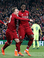 Liverpool's Divock Origi (right) is joined by Xherdan Shaqiri as he celebrates scoring his side's fourth goal <br /> <br /> Photographer Rich Linley/CameraSport<br /> <br /> UEFA Champions League Semi-Final 2nd Leg - Liverpool v Barcelona - Tuesday May 7th 2019 - Anfield - Liverpool<br />  <br /> World Copyright © 2018 CameraSport. All rights reserved. 43 Linden Ave. Countesthorpe. Leicester. England. LE8 5PG - Tel: +44 (0) 116 277 4147 - admin@camerasport.com - www.camerasport.com