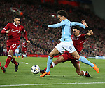 Leroy Sane of Manchester City tacked by Trent Alexander-Arnold of Liverpool during the Champions League Quarter Final 1st Leg, match at Anfield Stadium, Liverpool. Picture date: 4th April 2018. Picture credit should read: Simon Bellis/Sportimage