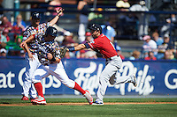 New Hampshire Fisher Cats third baseman Jason Leblebijian (8) tags Jake Fox (34) out in a run down during a game against the Reading Fightin Phils on June 6, 2016 at FirstEnergy Stadium in Reading, Pennsylvania.  Reading defeated New Hampshire 2-1.  (Mike Janes/Four Seam Images)