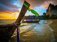 Sunset on the beach, Railay, Krabi Province, Thailand