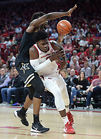 Arkansas forward Adrio Bailey (right) loses the handle on the ball Wednesday, Jan. 15, 2020, as he is pressured by Vanderbilt wing Ejike Obinna during the first half in Bud Walton Arena. Check out nwaonline.com/photos for a gallery from the game. (NWA Democrat-Gazette/Andy Shupe)