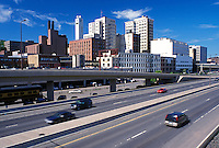 Duluth, MN, Lake Superior, Minnesota, Skyline of downtown Duluth along Interstate 35.