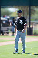 Chicago White Sox coach Justin Jirschele (23) during an Instructional League game against the Kansas City Royals at Camelback Ranch on September 25, 2018 in Glendale, Arizona. (Zachary Lucy/Four Seam Images)