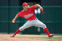 Mark Doll #49 of the GCL Phillies in action versus the GCL Braves at Disney's Wide World of Sports Complex, July 13, 2009, in Orlando, Florida.  (Photo by Brian Westerholt / Four Seam Images)