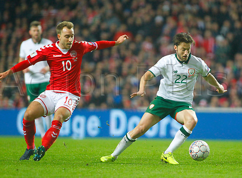 11th November 2017, Telia Parken, Copenhagen, Denmark; FIFA World Cup Qualification, European playoff, 1st leg; Denmark versus Republic of Ireland; Harry Arter (Republic of Ireland) gets away from Christian Eriksen (Denmark)