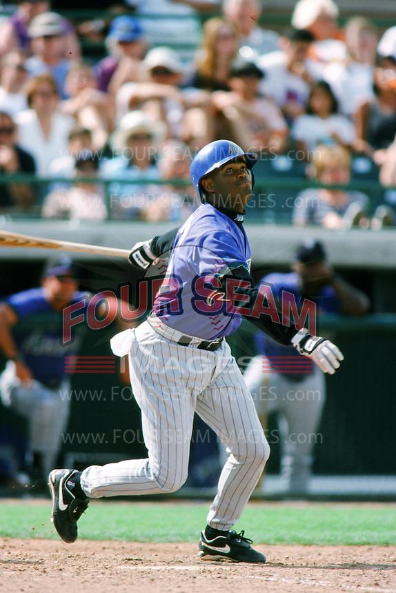 Tony Bautista of the Arizona Diamondbacks bats during a 1999 Major League Baseball Spring Training game in Phoenix, Arizona. (Larry Goren/Four Seam Images)