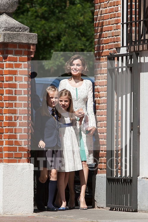 Princess Leonor of Spain, Princess Sofia of Spain and Queen Letizia of Spain arrive at the Asuncion de Nuestra Senora Church for the First Communion of the Princess Leonor of Spain in Madrid, Spain. May 20, 2015. (ALTERPHOTOS/Victor Blanco)