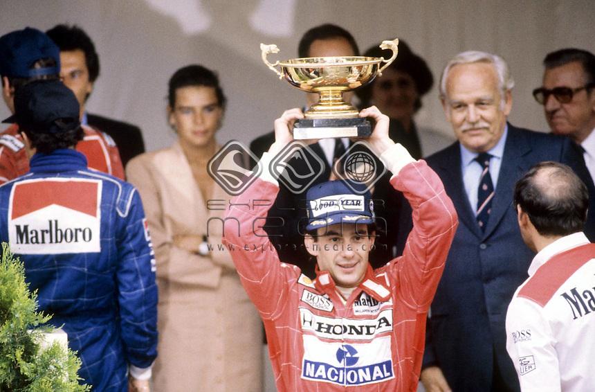 Ayrton Senna (BRA) wins the Monaco GP 1990 <br /> Motorsport - Formula One GP history<br /> 1990 McLaren -Honda<br /> &copy; Explorer-Media / Australian Sports Archives/Presse Sports