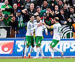 S&ouml;dert&auml;lje 2014-05-18 Fotboll Superettan Syrianska FC - Hammarby IF :  <br /> Hammarbys Pablo Pinones-Arce har gjort 3-2 och jublar med Hammarbys Kennedy Bakircioglu och Hammarbys Nahir Besara framf&ouml;r Hammarbys supportrar<br /> (Foto: Kenta J&ouml;nsson) Nyckelord:  Syrianska SFC S&ouml;dert&auml;lje Fotbollsarena Hammarby HIF Bajen jubel gl&auml;dje lycka glad happy supporter fans publik supporters