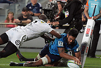 Akira Ioane scores a disallowed try during the Super Rugby match between the Blues and Sharks at Eden Park in Auckland, New Zealand on Saturday, 31 March 2018. Photo: Dave Lintott / lintottphoto.co.nz