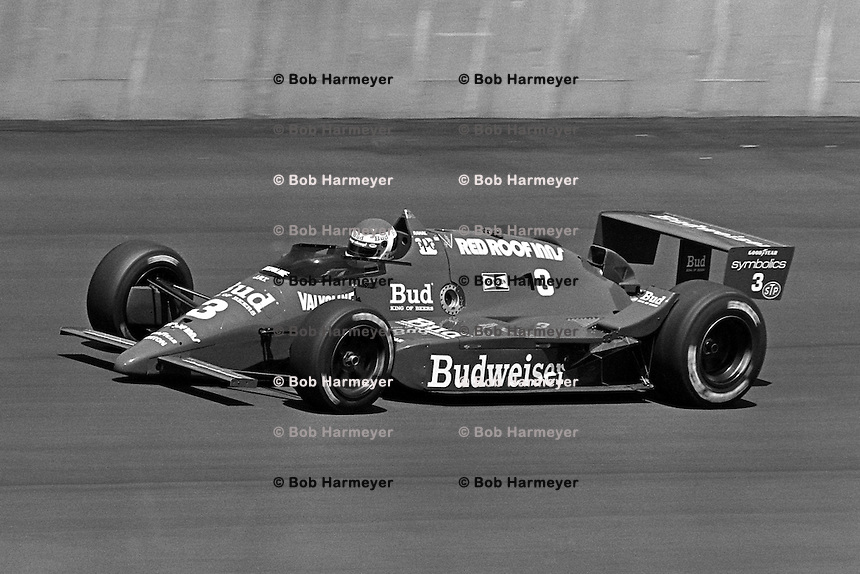 BROOKLYN, MI - AUGUST 2: Bobby Rahal drives his March 86C/Cosworth during the Michigan 500 CART Indy Car race at the Michigan International Speedway near Brooklyn, Michigan, on August 2, 1986.