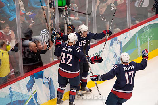 Trent Nelson  |  The Salt Lake Tribune.USA's Patrick Kane (center), Dustin Brown and Ryan Kesler (17) celebrate Kane's goal to put the US up 5-0. USA vs. Finland, men's Ice Hockey at the Canada Hockey Place, Vancouver, XXI Olympic Winter Games, Friday, February 26, 2010.