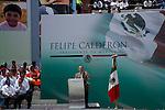 MEXICO DF. SEPTEMBER 2006. MEXICO'S PRESIDENT-ELECT FELIPE CALDERON HINOJOSA DURING VICTORY RALLY AT BULLRING PLAZA MEXICO.
