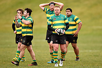 Ben Patston  prepares to kick for touch during the Otago premier club rugby union match between Kaikorai and Green Island at Bishopscourt Park in Dunedin, New Zealand on Saturday, 4 July 2020. Photo: Joe Allison / lintottphoto.co.nz