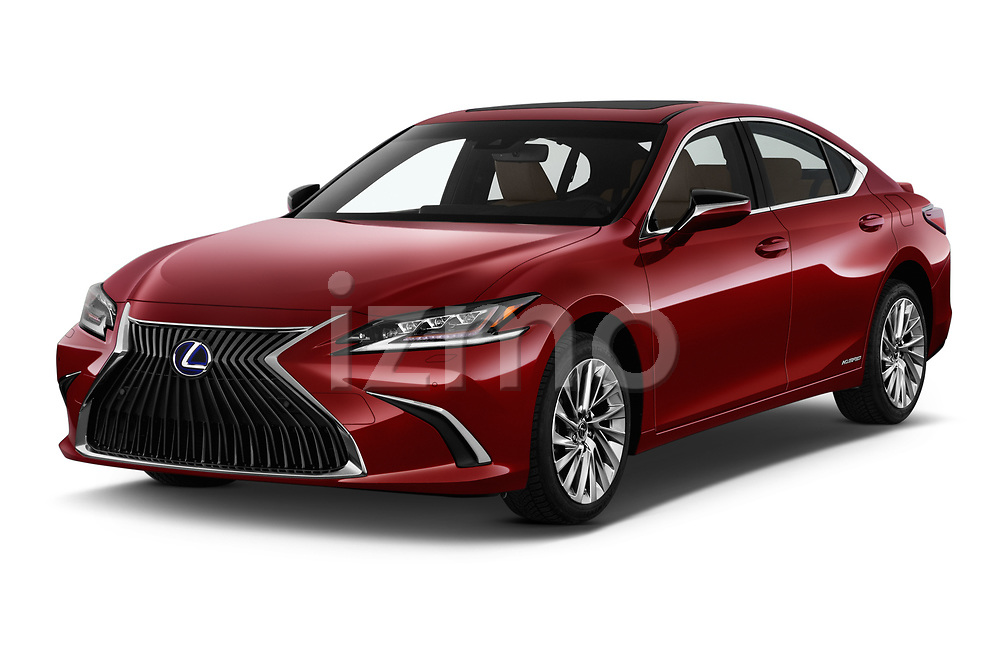 2019 Lexus ES 300h-Privilege-Line 4 Door Sedan Angular Front stock photos of front three quarter view