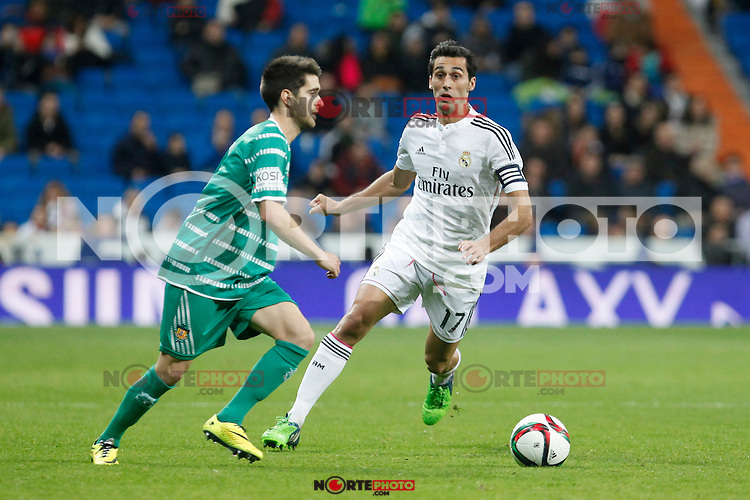 Real Madrid´s Alvaro Arbeloa (R) during Spanish King Cup match between Real Madrid and Cornella at Santiago Bernabeu stadium in Madrid, Spain.December 2, 2014. (NortePhoto/ALTERPHOTOS/Victor Blanco)