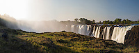 Panoramic View of the Victoria Water Falls in the late afternoon.