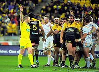 Referee Angus Gardner awards a scrum penalty to the Chiefs during the Super Rugby semifinal match between the Hurricanes and Chiefs at Westpac Stadium, Wellington, New Zealand on Saturday, 30 July 2016. Photo: Dave Lintott / lintottphoto.co.nz